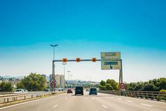 The movement of vehicles on freeway, motorway A8 near Nice, Fran - stock photo