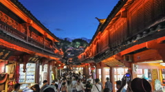 Lijiang old town in the evening with crowed tourist. Stock Footage