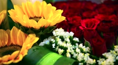 Background of red roses and yellow herbera Stock Footage