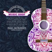 Abstract retro music guitar on blue floral background of the ornament concept - stock illustration
