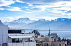Beautiful view on Geneva Lake and - stock photo