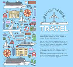 Tourism circle concept design. Holiday vacation vector elements. Flat trip thin Stock Illustration