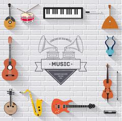 Music instruments on white modern brick wall concept. Icons design for your Stock Illustration