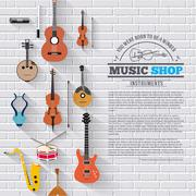 Music instruments on white modern brick wall concept. Icons design for your Piirros