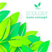 Eco nature plant colorful illustration. Ecology green leafs vector background - stock illustration