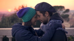 Romantic scene with two lovers kissing in the sunset Stock Footage