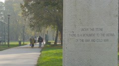 Monument to the Victims of War and the Cold War in Sarajevo - stock footage