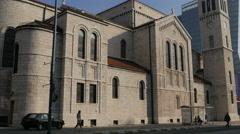 Tilt view of  Saint Joseph's Church in Sarajevo Stock Footage