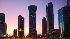Qatar, Doha, Palm Tower, Burj Qatar, Tornado Tower, TIME LAPSE, night to day Stock Footage