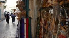 Visitors at Jerusalem old city bazaar. Stock Footage