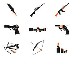 Weapon simply icons - stock illustration