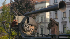 View of iron trumpets and surreal statues in Sarajevo - stock footage
