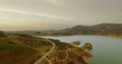 4K Aerial, Flights over barrier lake in Spain, Embalse De Zahara, Andalusia Stock Footage