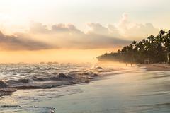 Sun ray in the morning through fog, Atlantic ocean, Bavaro Stock Photos