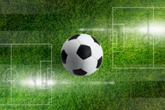 Soccer ball, green filed Stock Illustration