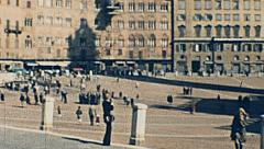 Siena, Italy 1974: people walking in Piazza del Campo Stock Footage