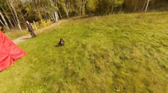 Dog protection work training, action camera view Stock Footage