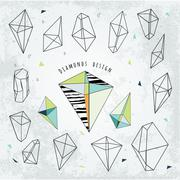 Line shapes cristal geometry. Diamonds design.  Alchemy, religio Stock Illustration