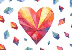 Polygon watercolor heart .Diamond shape Stock Illustration