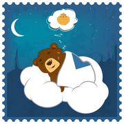Sleepy Teddy bear - stock illustration