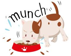 Little dog munching alone - stock illustration