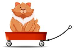Fat cat sitting on the wagon Stock Illustration
