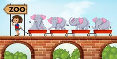 Girl pulling carts loaded with elephants to the zoo - stock illustration