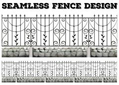 Seamless fence design with metal fence - stock illustration
