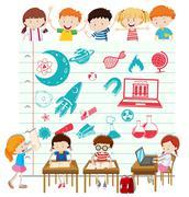 Children doing science at school Stock Illustration