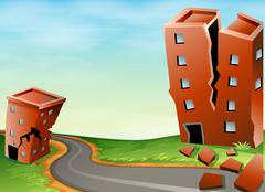 Scene of earthquake with cracked buildings - stock illustration