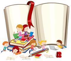 Children reading books together - stock illustration