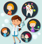 Dentist and eating habit of children Stock Illustration