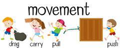 Children in different movement - stock illustration