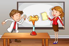 Teachers doing lab experiment in classroom Stock Illustration