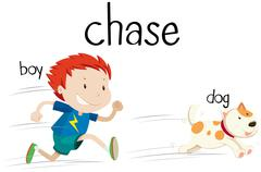 Bad  boy chasing little dog Stock Illustration