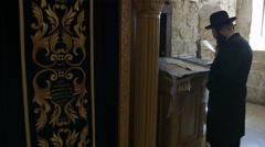 Stock Video Footage of Jews praying at King Davids tomb.