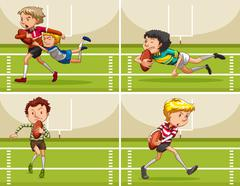 Boys playing rugby in the field - stock illustration