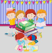 Boys and girls reading books in class - stock illustration