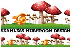 Seamless background with mushrooms on the lawn Stock Illustration