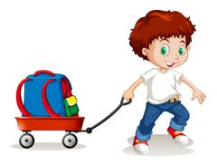 Little boy pulling cart with backpack on it Stock Illustration