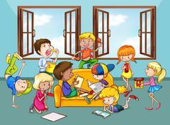 Children doing activities in the living room Stock Illustration