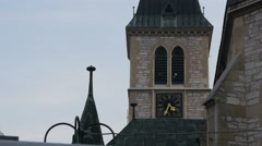 Bell tower of the Sacred Heart Cathedral in Sarajevo - stock footage