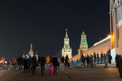 Moscow, Russia - January 10.2016.  People walk on Red Square - stock photo