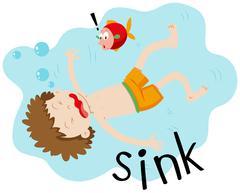 Little boy underwater sinking Stock Illustration