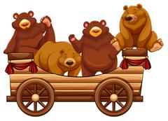 Four bears standing on the wooden wagon - stock illustration