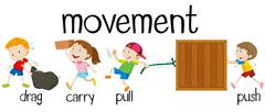 Children in different movement - stock illustration
