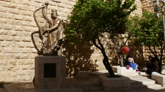 King David monument. Statue. Stock Footage