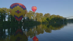 Lock down of hot air balloons Stock Footage