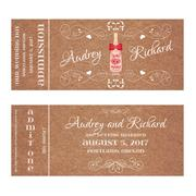 Ticket for Wedding Invitation with wedding bottle of champagne - stock illustration