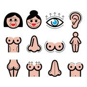 Plastic surgery, beauty vector icons set Stock Illustration